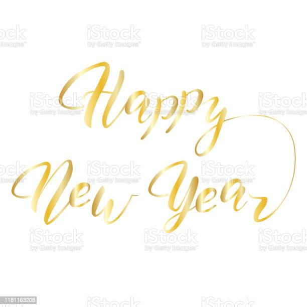 Happy New Year hand lettering calligraphy isolated on white background.