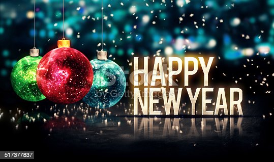505891566 istock photo Happy New Year Hanging Baubles Blue Bokeh Beautiful 3D 517377837