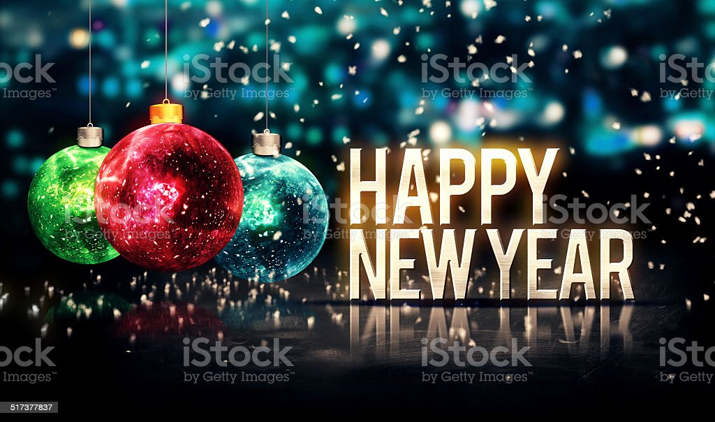 Happy New Year Hanging Baubles Blue Bokeh Beautiful 3D stock photo