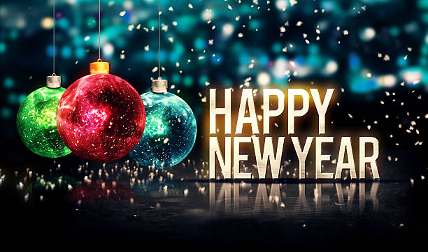 Happy New Year Hanging Baubles Blue Bokeh Beautiful 3D Happy New Year Hanging Baubles Blue Bokeh Beautiful 3D holidays and seasonal stock pictures, royalty-free photos & images