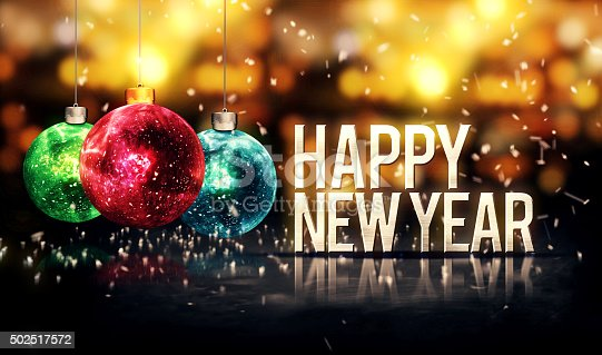 istock Happy New Year Hanging Baubles Gold Bokeh Beautiful 3D 502517572