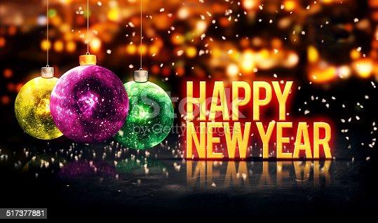 505891566 istock photo Happy New Year Hanging Baubles Yellow Bokeh Beautiful 3D 517377881