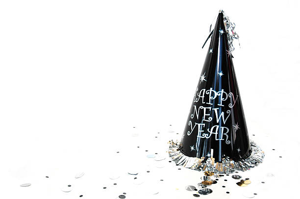 Happy new year hat on white background stock photo