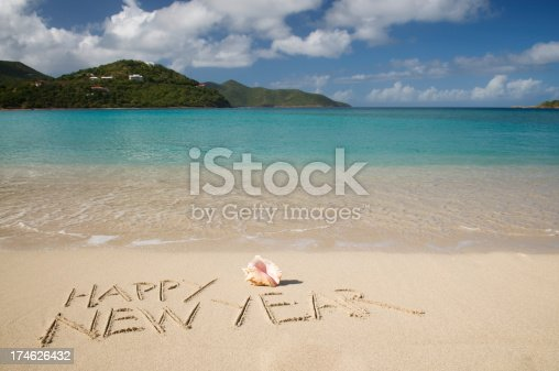 Happy New Year message in golden sand on a tranquil tropical beach