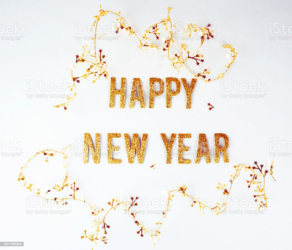 Happy new year message on a white background stock photo