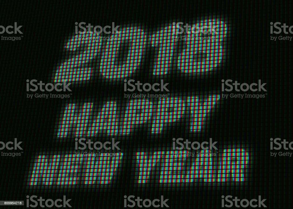 2018 Happy New Year Message on the LED Billboard Screen stock photo
