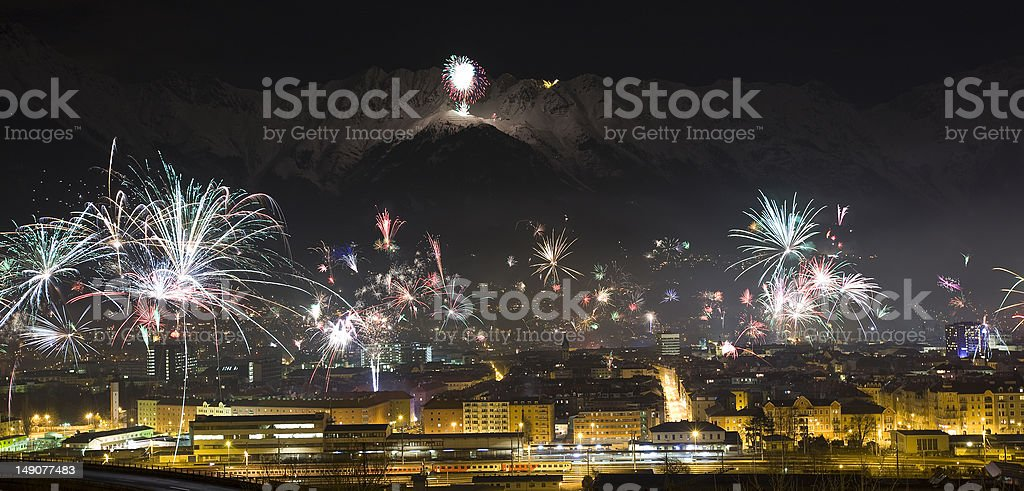 Happy new year mountain view royalty-free stock photo