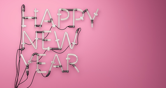 istock Happy New Year Neon Light Pink 3D 488157040