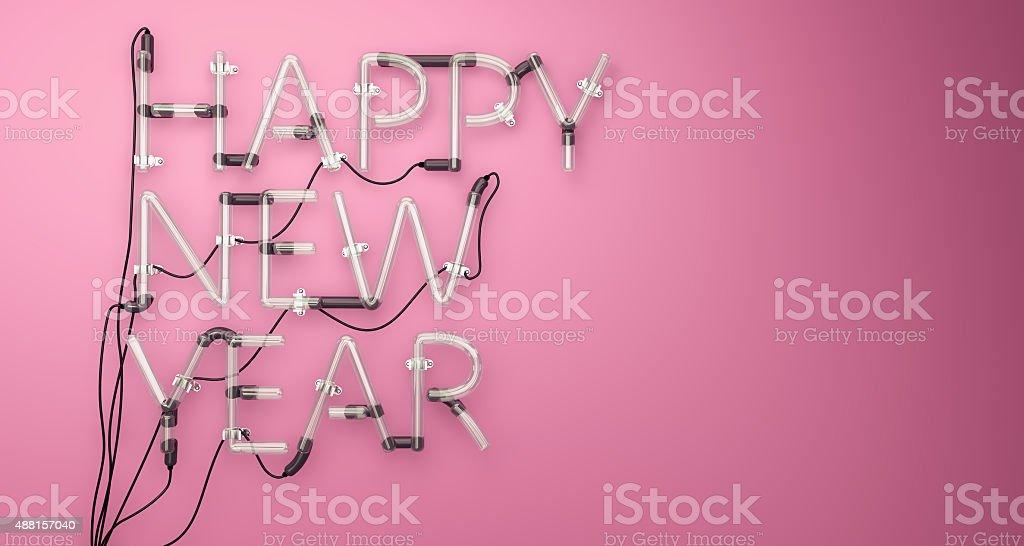 Happy New Year Neon Light Pink 3D stock photo
