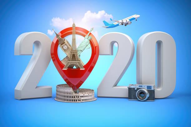 2020 Frohes neues Jahr. Nummer 2020 und Pin mit den beliebtesten Sehenswürdigkeiten der Welt. Neujahrsfeier in London, Paris, Rom oder New York. – Foto