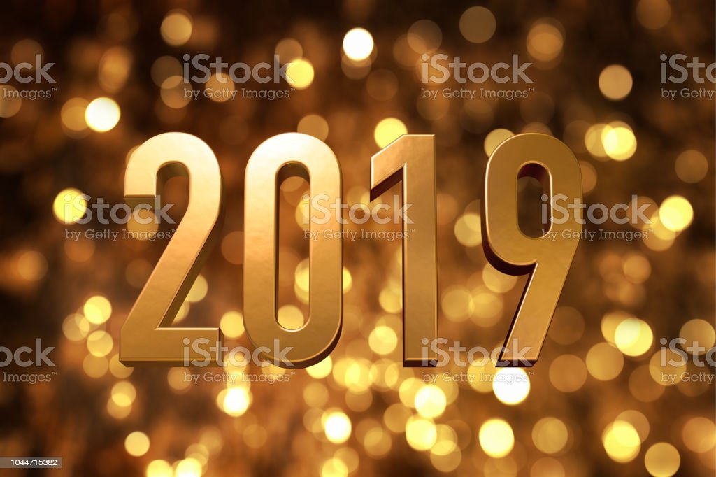 2019 Happy New Year Number With Sparkling Gold Bokeh