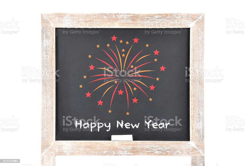 Happy New Year on blackboard stock photo