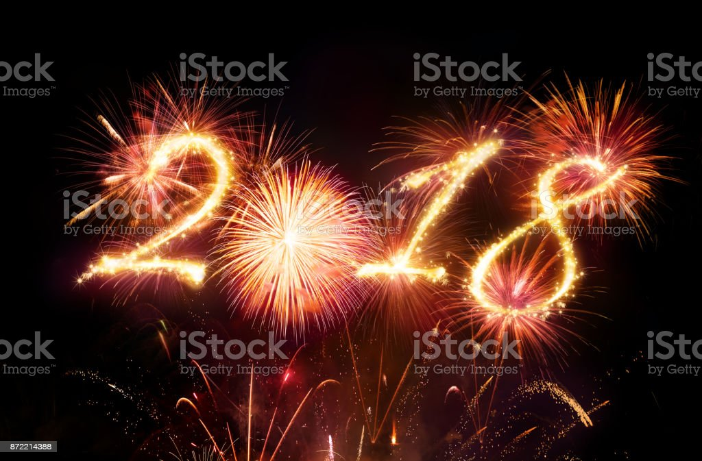 Happy New Year - Red Fireworks Explosion stock photo