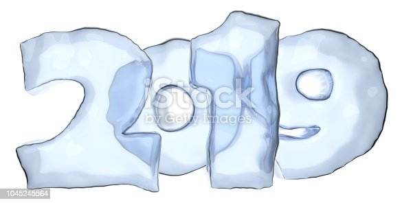 istock Happy New Year sign text 2019 made of blue ice 1045245564