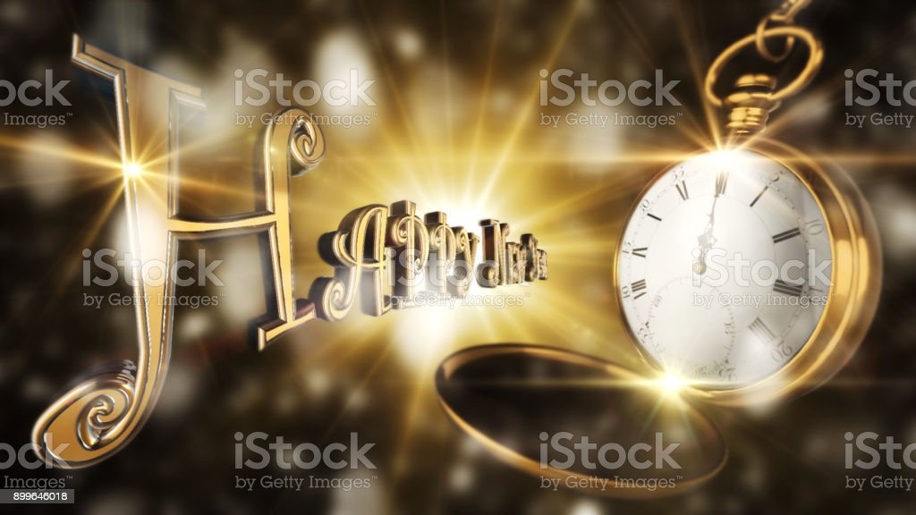 Happy New Year Sign With Vintage Pocket Watch Striking Midnight With Light And Flares in Background 3D Rendering stock photo
