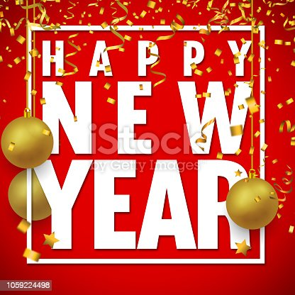 istock Happy New Year Text with Confetti on Red Background 1059224498