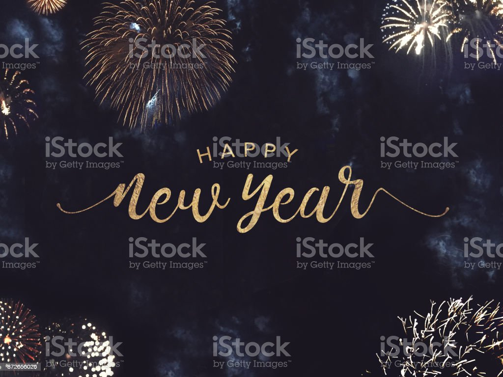Happy New Year Text with Gold Fireworks in Night Sky Happy New Year Celebration Text with Festive Gold Fireworks Collage in Night Sky Banner - Sign Stock Photo