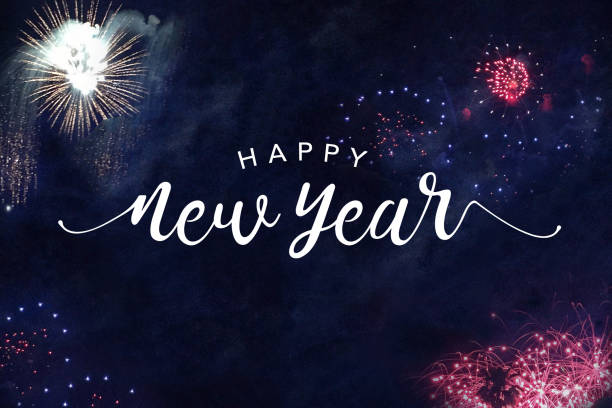 Happy New Year Typography with Fireworks stock photo