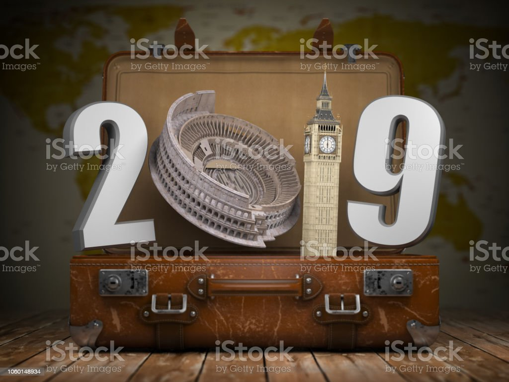2019 Happy new year. Vintage suitcase with number 2019 as Coloisseum and Big Ben tower. Travel and tourism concept. foto stock royalty-free