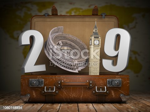 2019 Happy new year. Vintage suitcase with number 2019 as Coloisseum and Big Ben tower. Travel and tourism concept. 3d illustration It was generated using map data from the public domain http://www.lib.utexas.edu/maps/world_maps/world_rel_803005AI_2003.jpg