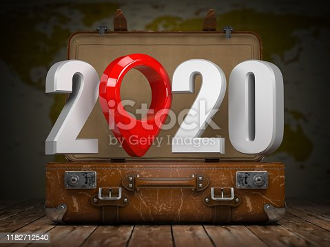 istock 2020 Happy new year. Vintage suitcase with number 2020 and navigation pin. Travel and tourism concept. 1182712540