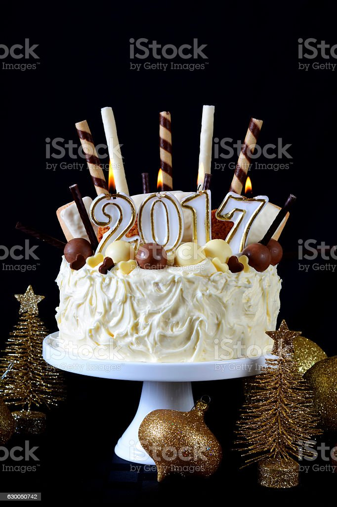 happy new year white chocolate cake royalty free stock photo