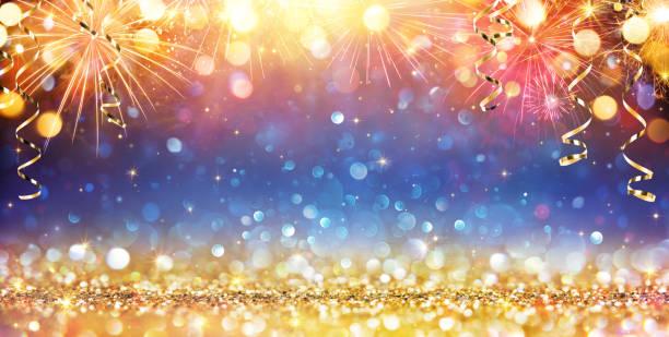 feliz año nuevo con fuegos artificiales y brillo - año nuevo fotografías e imágenes de stock