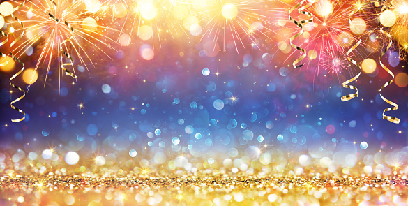 Happy New Year With Glitter And Fireworks Stock Photo - Download Image Now