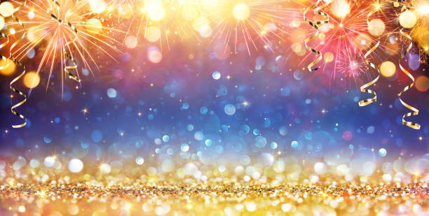 Happy New Year With Glitter And Fireworks Golden Glitter And Fireworks For Celebration Background celebration stock pictures, royalty-free photos & images