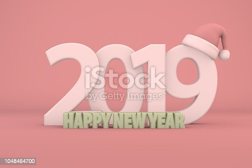 1063751940istockphoto 2019 Happy New Year with Santa Hat 1048464700