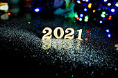 istock 2021 happy new year wood number Christmas decoration and snow with bright background and copy space 1081372210