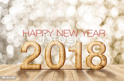 istock 2018 happy new year wood number in perspective room with sparkling bokeh wall and wooden plank floor,holiday greeting card,3d rendering. 881942280