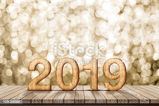 1018565666istockphoto 2019 happy new year wood number (3d rendering) on wood table with sparkling gold bokeh wall,leave space for display or montage of design or content. 1030395882