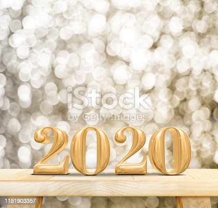 istock 2020 happy new year wood number (3d rendering) on wood table with sparkling gold bokeh wall,leave space for display or montage of design or content 1151903357
