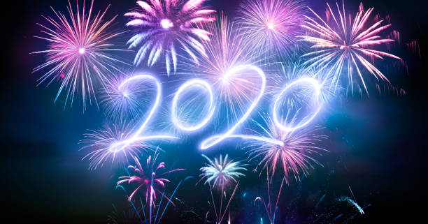 Happy New Years 2020 With Fireworks stock photo