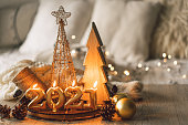 istock Happy New Years 2021. Christmas background with fir tree, cones and Christmas decorations 1279139190