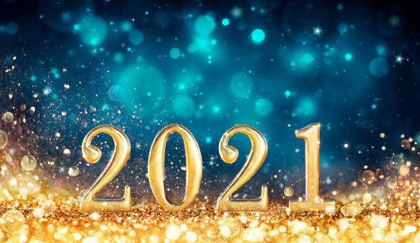 Happy New Years 2021 -  Metal Number With Golden Glitter stock photo