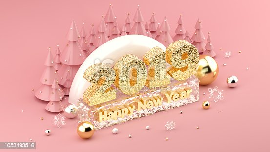 1049836902 istock photo 2019 Happy New Year's Wish isometric 3D installation for New Year's and Christmas banners and posters. 1053493516