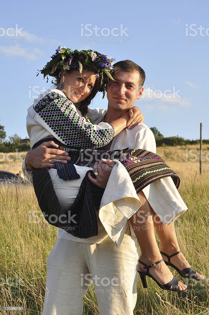 Happy newlyweds royalty-free stock photo