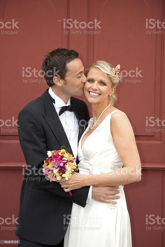 Happy newlyweds stock photo