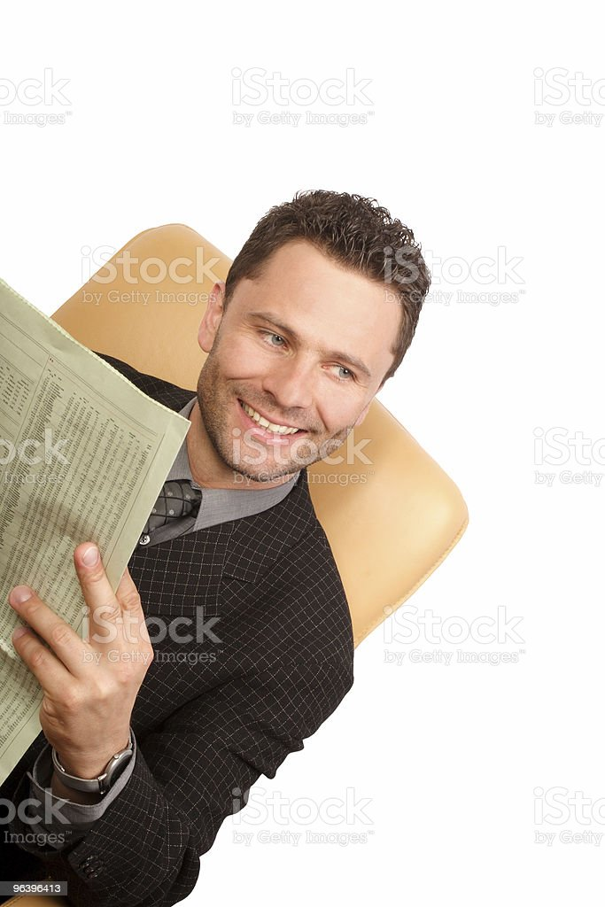 Happy news and business man - Royalty-free Adult Stock Photo
