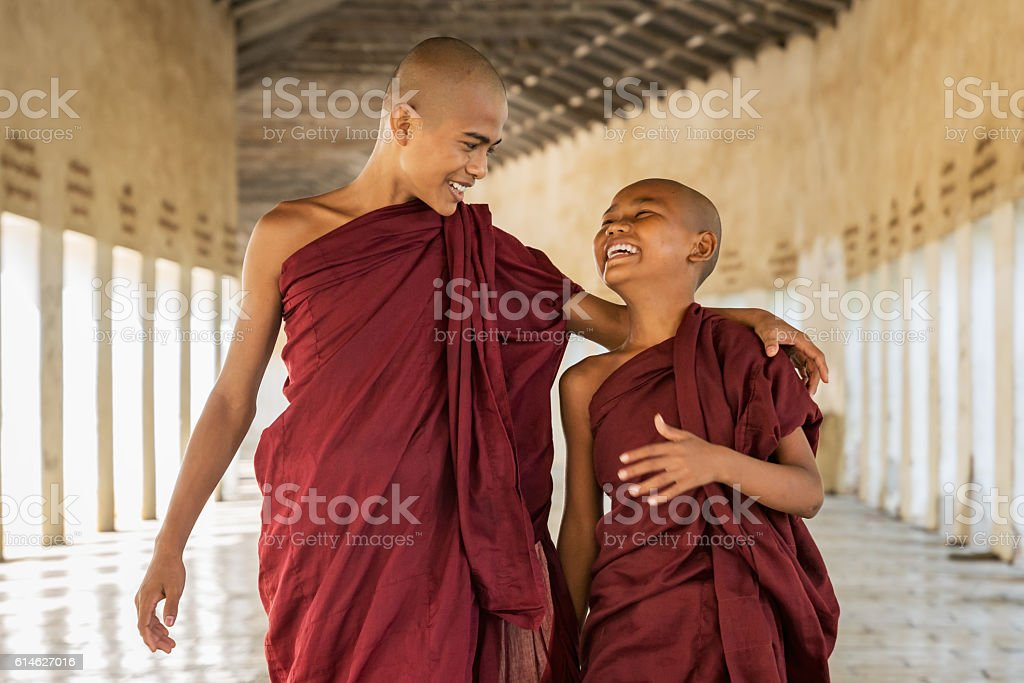 Happy Novice Monks Together Bagan Myanmar stock photo