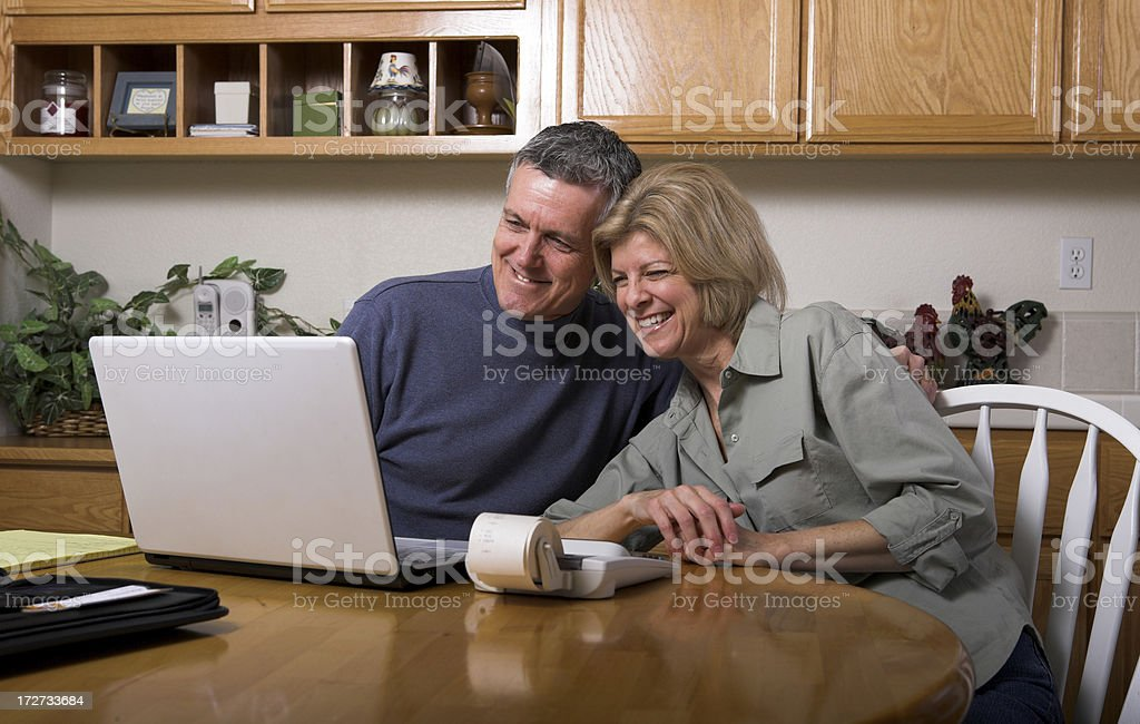 Happy Numbers Family Budget Accounting Bills Retirement 401K royalty-free stock photo