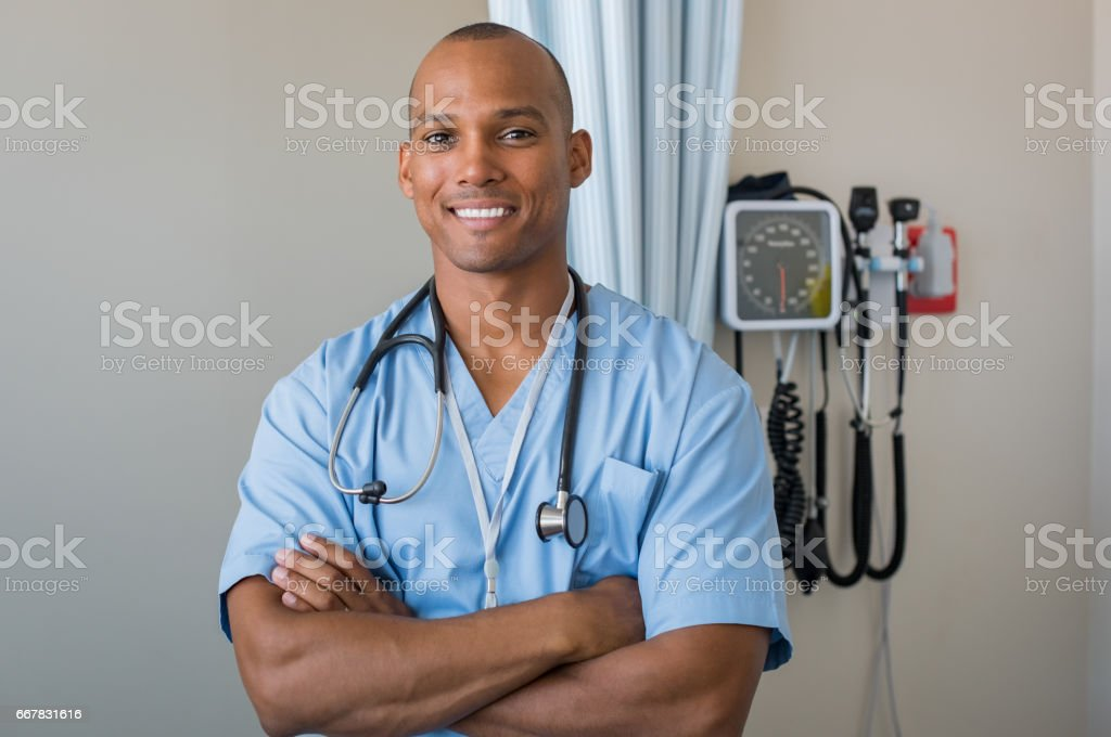Happy nurse smiling stock photo