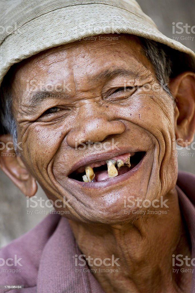 Happy old asian man stock photo