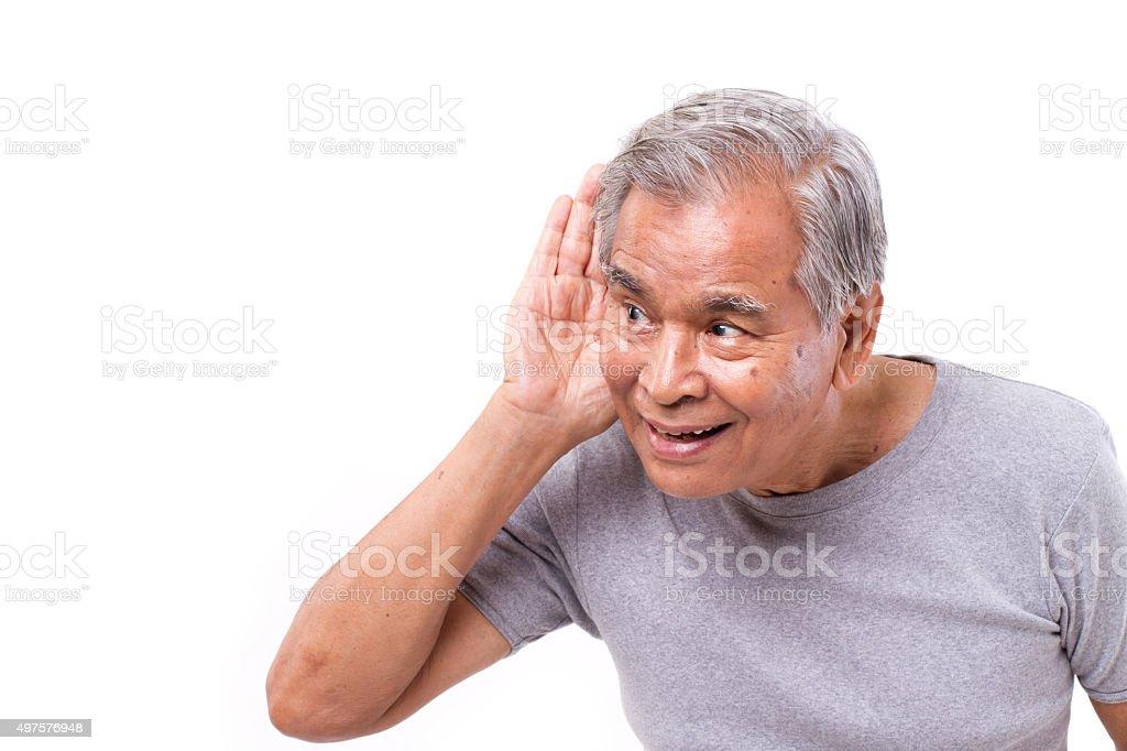 happy old man listening stock photo