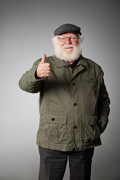 Glückliches Alter Mann Wir wünschen Ihnen viel Glück – Foto
