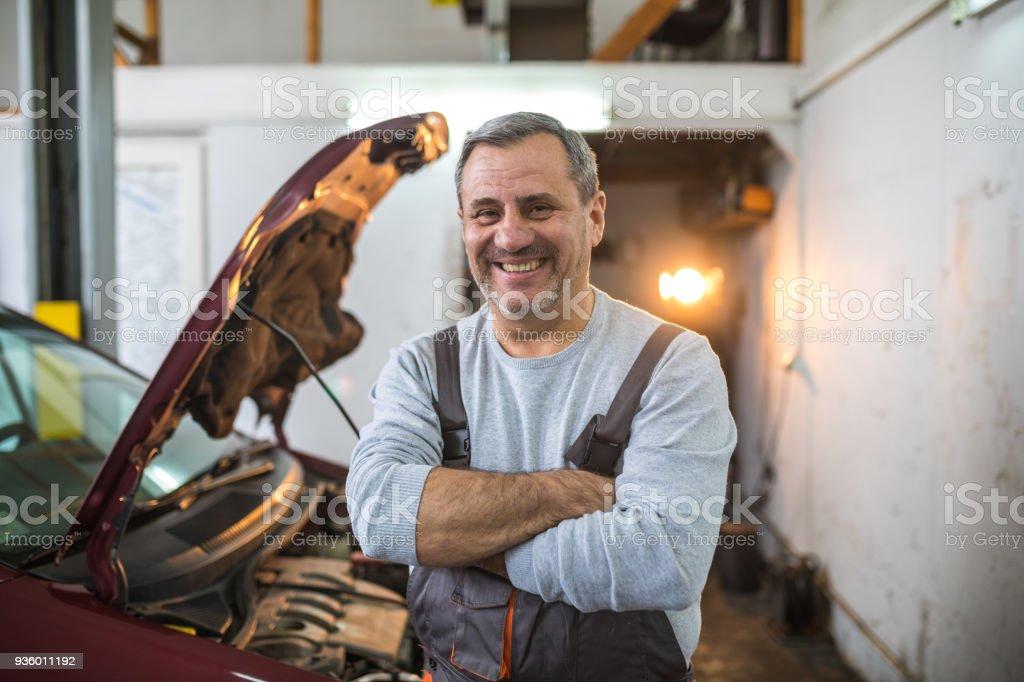 Happy on his job stock photo