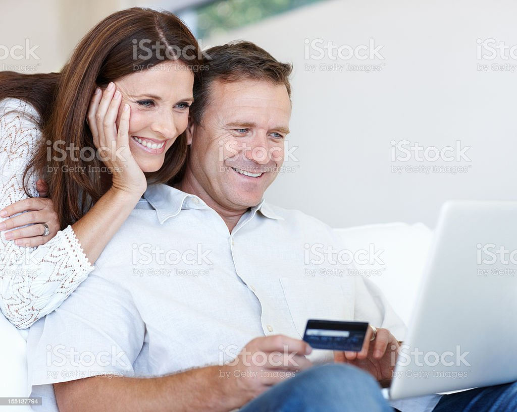 Happy online shopping royalty-free stock photo