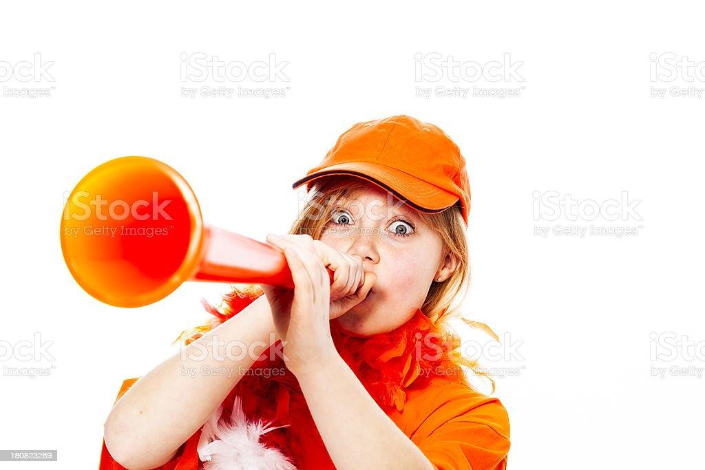 Happy orange fan stock photo
